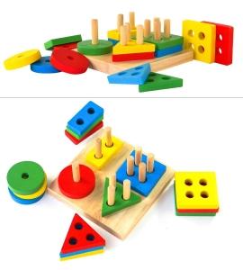 Joc din Lemn Figuri Geometrice Sortare Color Set1