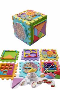 Joc Cub din Lemn multifunctional 6 in 1 Puzzle5