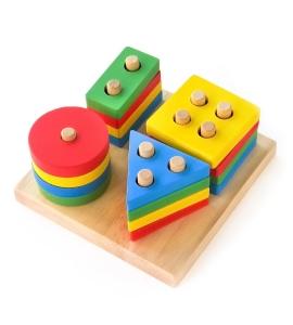 Joc din Lemn Figuri Geometrice Sortare Color Set0