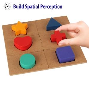 Puzzle din Lemn Blocuri Colorate si Decupaje Pigloo5