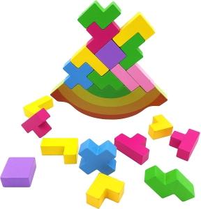 Joc echilibru din lemn Tetris Curcubeu0