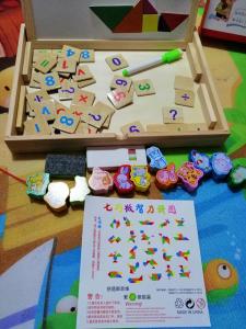 Tabla de Scris din Lemn 2 in 1 - Tabla Magnetica de Lemn Copii cu Ceas4