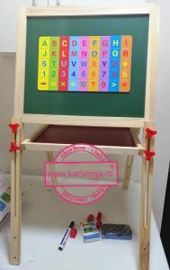 Tabla Educativa din Lemn cu Accesorii - Tabla Magnetica de Scris Reglabila0