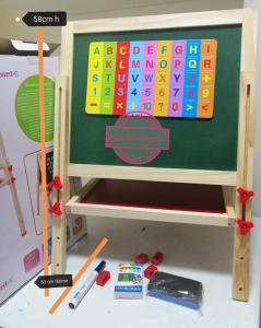 Tabla Educativa din Lemn cu Accesorii - Tabla Magnetica de Scris Reglabila1