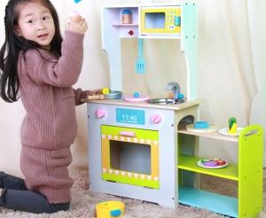Bucatarie de lemn Copii cu Etajera pe roti 2 in 13