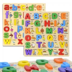 Joc educativ din Lemn Alfabetul cu imagini 3d [1]