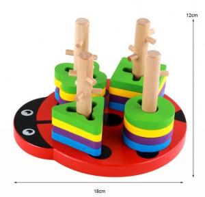 Joc din lemn 4 coloane sortator Buburuza [5]