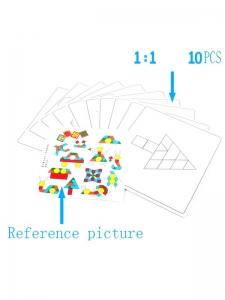 Joc din Lemn Tangram Puzzle Blocks 125 piese - 250 piese5