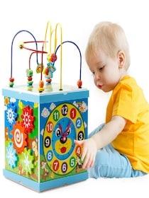 Cub Multifunctional  Albastru din Lemn cu Joc Magnetic Montessori0