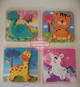 Set 4 Puzzle de Lemn Animale - Puzzle Animale 3D set [1]