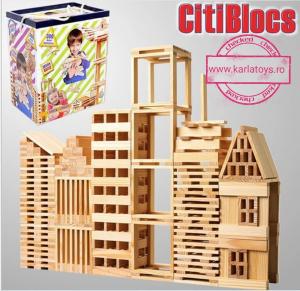 Joc Constructie din lemn natur 300 piese0