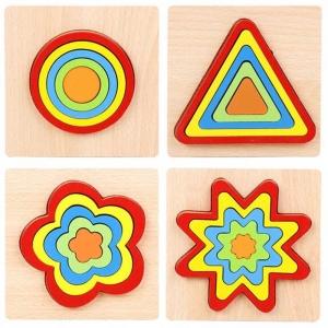 Set 2 Puzzle Lemn 3D Curcubeu Forme15