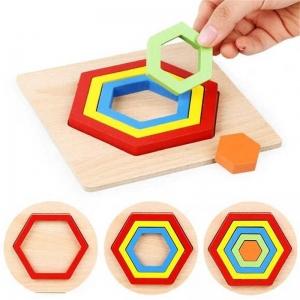 Set 2 Puzzle Lemn 3D Curcubeu Forme14