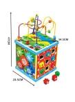 Cub Multifunctional  Albastru din Lemn cu Joc Magnetic Montessori1