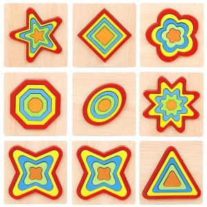 Set 2 Puzzle Lemn 3D Curcubeu Forme11