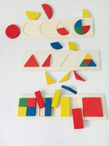 Set 3 Puzzle Forme Geometrice din Lemn Motessori1