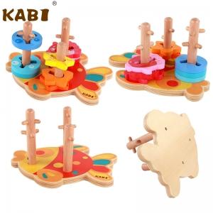 Joc Educativ Puzzle Recunoasterea Formei din Lemn Pestisorul Kabi6
