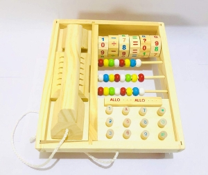 Jucarie lemn Telefon multifunctional cu abac0
