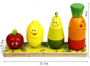 Joc din lemn Stivuire coloane cu fructe5