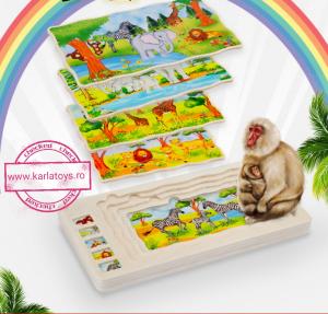 Joc din lemn Puzzle in straturi Onshine Animale2