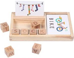 Set Blocuri din lemn Litere si Cartonase [1]