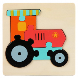 Mini Puzzle din lemn Animale si Vehicole 3d5
