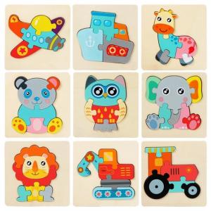 Mini Puzzle din lemn Animale si Vehicole 3d1