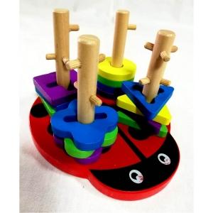 Joc din lemn 4 coloane sortator Buburuza [8]