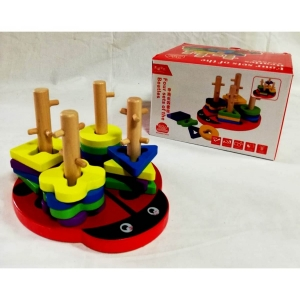 Joc din lemn 4 coloane sortator Buburuza [0]
