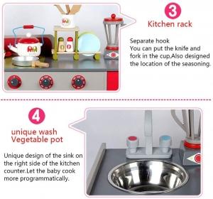 Bucatarie de Lemn copii Dubla European Kitchen cu Accesorii7