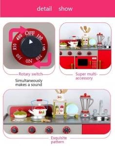 Bucatarie de lemn copii Dubla European Kitchen  cu accesorii6