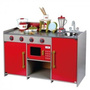 Bucatarie de lemn copii Dubla European Kitchen  cu accesorii0