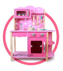 Bucatarie din Lemn Copii cu accesorii Pink2