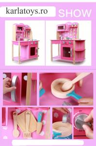 Bucatarie din Lemn Copii cu accesorii Pink1