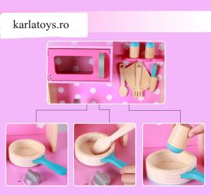 Bucatarie din Lemn Copii cu accesorii Pink5