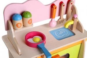 Bucatarie de jucarie din lemn pentru copii Colorata6