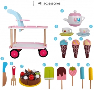 Carucior Inghetata din Lemn cu Accesorii copii - Masuta cu roti desert din lemn1