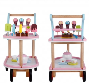 Carucior Inghetata din Lemn cu Accesorii copii - Masuta cu roti desert din lemn2