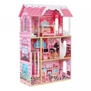 Casuta Papusi Mare din Lemn 3 etaje cu Mobila - Pink Vila6