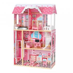 Casuta Papusi Mare din Lemn 3 etaje cu Mobila - Pink Vila7