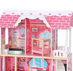 Casuta Papusi Mare din Lemn 3 etaje cu Mobila - Pink Vila2