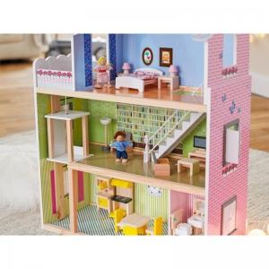 Casuta din Lemn Papusi Mare Pink House Dolls - Casuta Papusi cu etaj Roz cu accesorii1