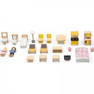 Casuta din Lemn Papusi Mare Pink House Dolls - Casuta Papusi cu etaj Roz cu accesorii3