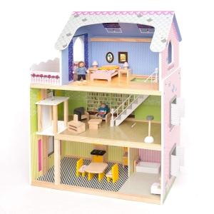 Casuta din Lemn Papusi Mare Pink House Dolls - Casuta Papusi cu etaj Roz cu accesorii0
