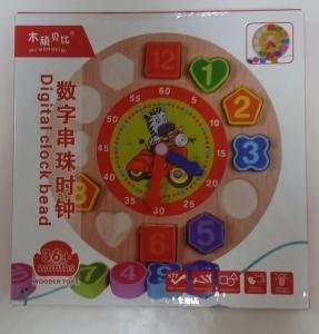 Ceas din lemn 2 in 1 pentru copii -  Ceas lemn cu forme geometrice7