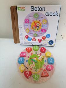 Ceas din lemn 2 in 1 pentru copii -  Ceas lemn cu forme geometrice10