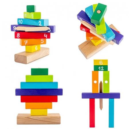 Ceas Puzzle din Lemn Montessori Multicolor3