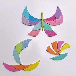 Joc din Lemn Tangram Cerc Curcubeu Spirala, Octogon3