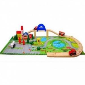 Circuit  din lemn cu masinute din lemn si covoras puzzle [0]