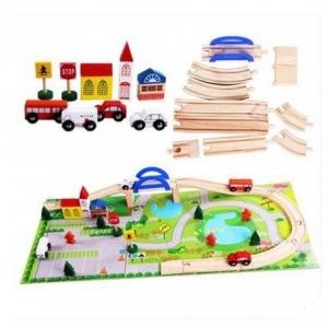 Circuit  din lemn cu masinute din lemn si covoras puzzle [1]
